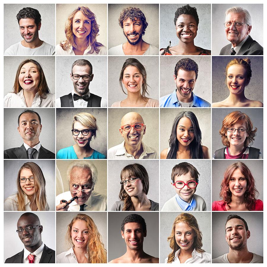 O relacionamento interpessoal é importante para conviver com as diferenças. A imagem mostra fotos de pessoas de diversas etnias.